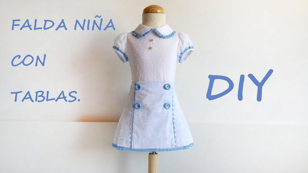 Falda de niña con tablas. Diy costura, como hacer una falda. - YouTube