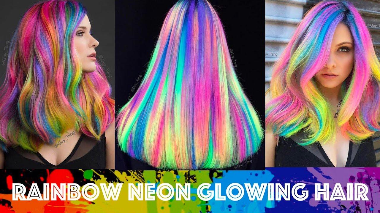Rainbow Neon Glowing Hair Youtube