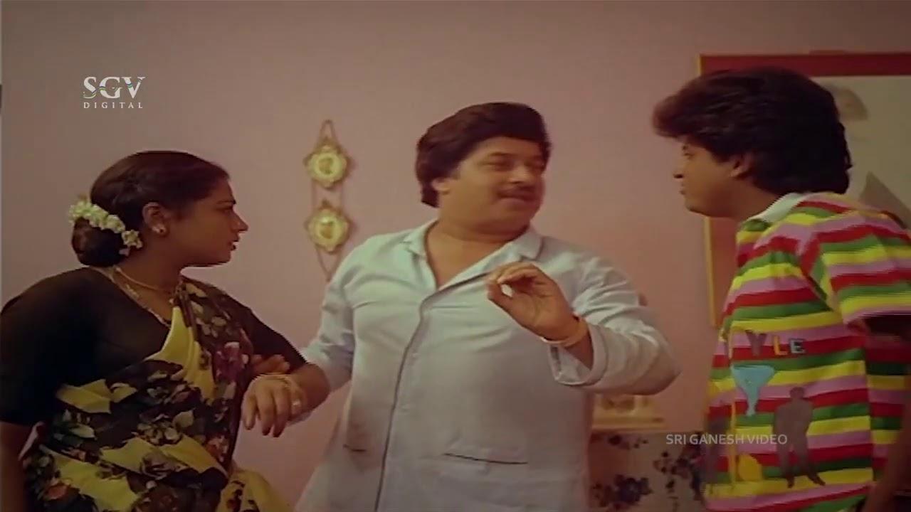 Srinath Kiss Wife In Front of Son Shivarajkumar | Pramila Joshai | Ade Raaga Ade Haadu Comedy Scene