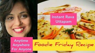 Instant Rava Uttapam Pancake Pizza  Cook Quick Healthy Breakfast Snack  Tiffin box Recipe for kids