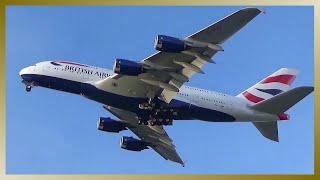 New BRITISH AIRWAYS A380 | G-XLEI | Takeoff @ Airbus plant Hamburg Finkenwerder