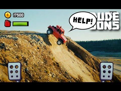 Double Front Flip With A Car |  Hill Climb Racing In Real Life! | Dudesons