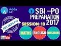 Maths-English-Reasoning Session-10 for SBI IBPS Bank 2017