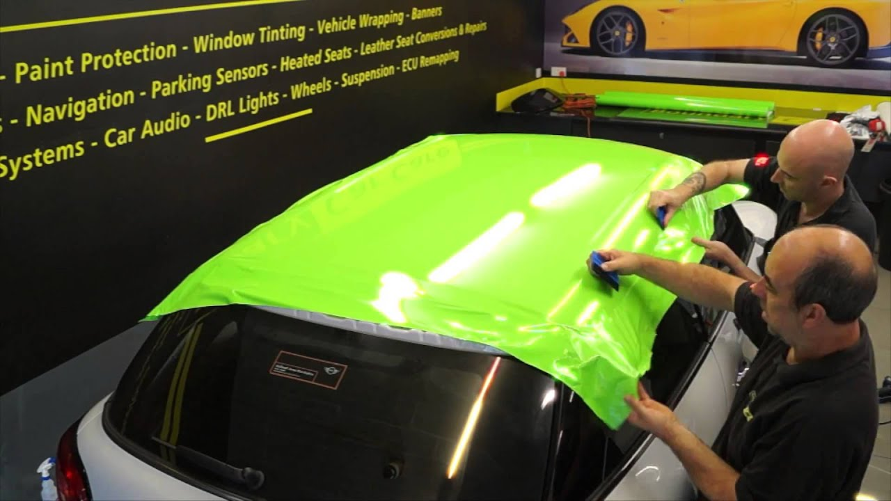 Super Lime green Roof Wrap with mirror and side grill detailing - YouTube MW77