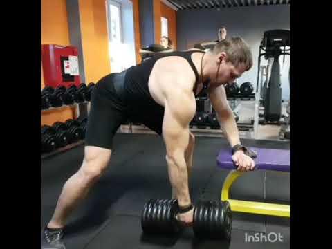 Тренировка спины тяга штанги в наклоне 140кг тяга гантели в наклоне 61кг пуловеры 46кг и 56кг