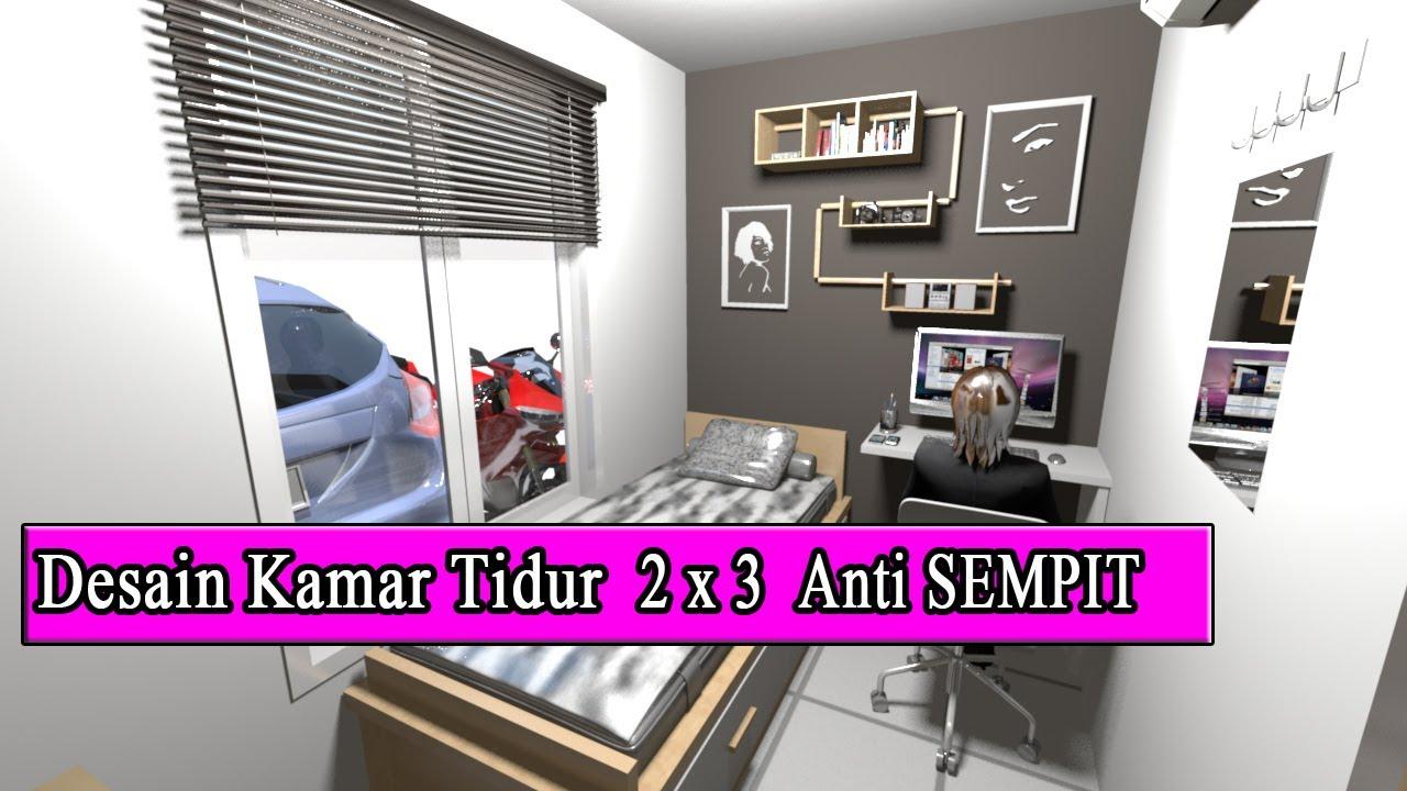 Desain Kamar Tidur Ukuran 2 X 3 Meter Terasa Luas Terbaru 2019 Youtube