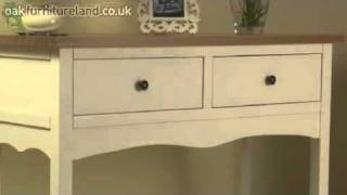 Cotswold Cream Painted Shaker Solid Oak Console / Hall Table From Oak Furniture Land