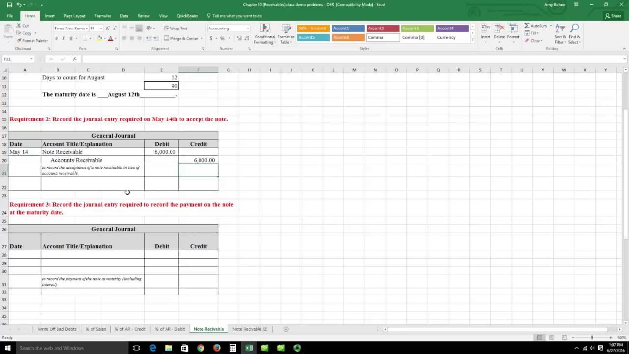 Maturity date accounting