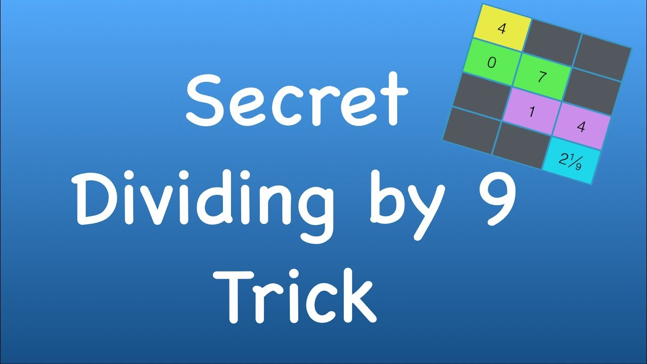 Division Trick - Divide any 4 Digit Number by 9 in 3 Easy Steps ...