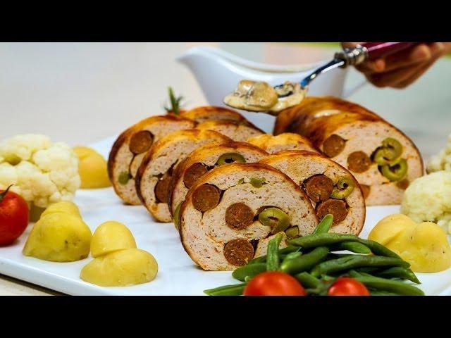 Choumicha : Roulé de poulet :شميشة : ملفوف بالدجاج المفروم والنقانق، صلصة الفطر