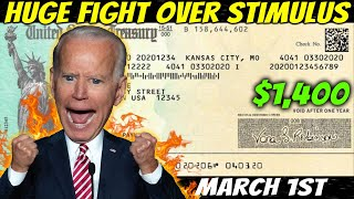 The FIGHT IS ON! $1,400 Thİrd Stimulus Check Update: MORE Unemployment Benefits & Changes - March 1