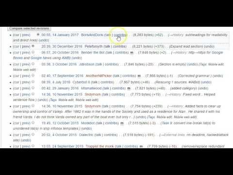 Using Wikipedia's View History screen
