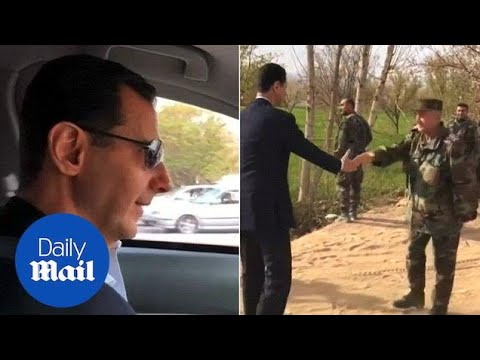 Assad drives to Ghouta while narrating the situation for the people - Daily Mail