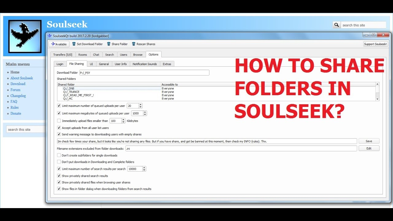 SoulSeek - How to Share Folders on your PC for all users?