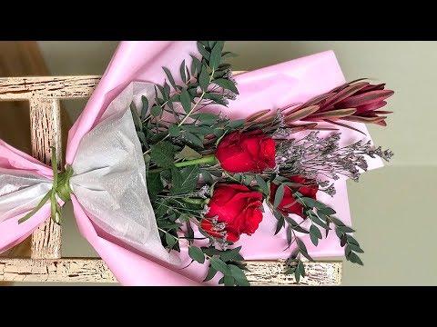 Как красиво упаковать 1 или 3 розы Оригинально упаковать розы Мастер Класс по флористике