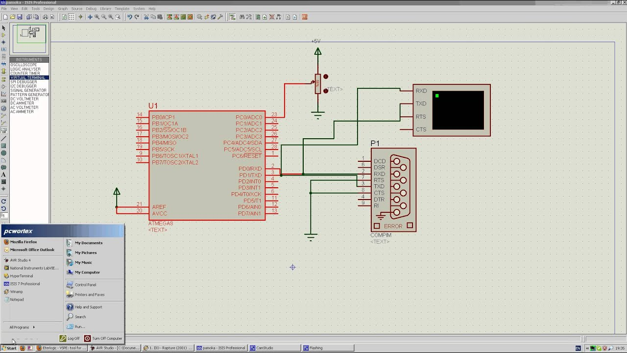 Proteus Hyperterminal And Virtual Port Youtube Single Line Serial Communication With Microcontroller Pic16f84