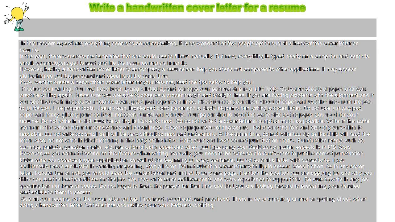 How To Write A Handwritten Cover Letter For Resume