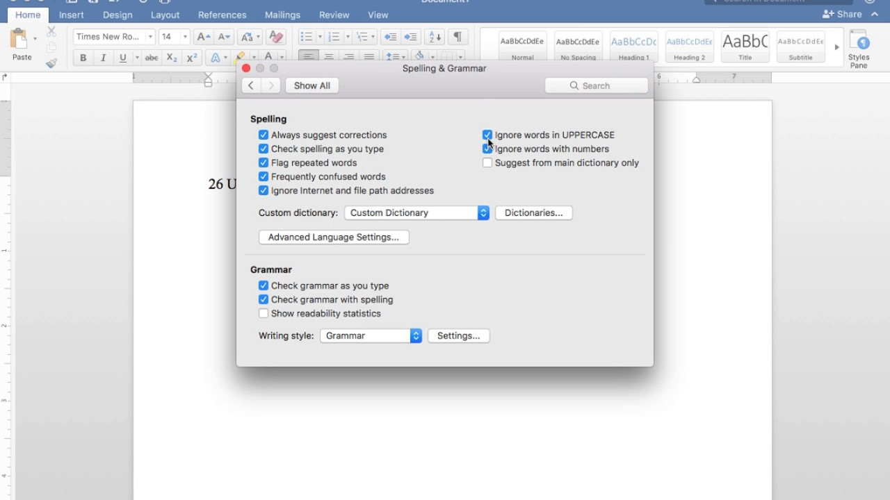 Managing Proofing Features in Word 2016 for Mac