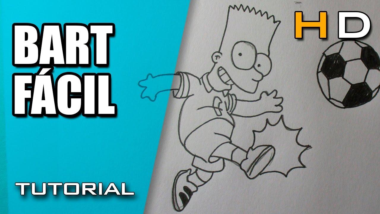 Cómo Dibujar Un Balón De Fútbol Fácil: Cómo Dibujar A Bart Simpson Jugando Fútbol Paso A Paso