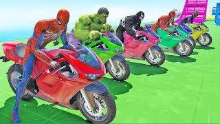 MOTOS com Homem Aranha e Vilões no DESAFIO da CAIXA DE BOLAS? | GT 5 GAMEPLAY