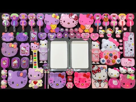 Special Series #HELLO KITTY || Violet And Pink || Mixing Random Things Into Fluffy Slime