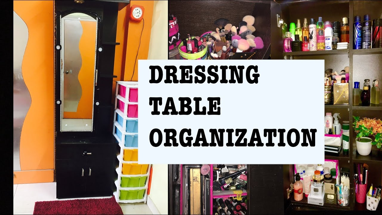 How To Organize Dressing Table And Makeup   Vanity Tour   Small Dressing Table Organization Ideas