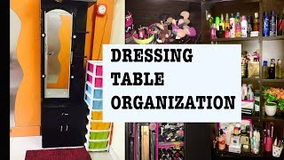 How To Organize Dressing Table And Makeup | Vanity Tour | Small Dressing Table Organization Ideas