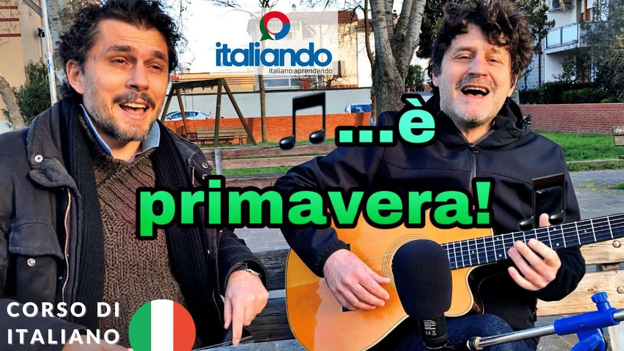 """ITALIANDO: è primavera!! """"Mattina Fiorentina"""" analisi testo Corso di italiano gratis con musica"""