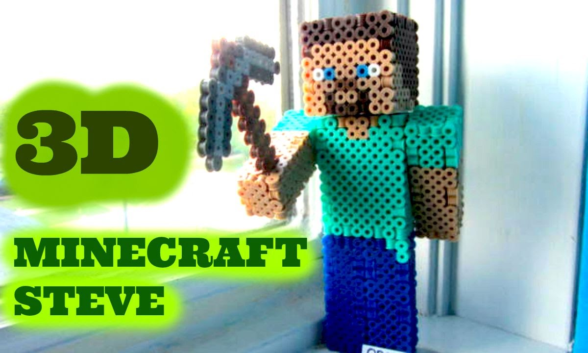 3d Perler Bead Minecraft Steve Figure Full Tutorial