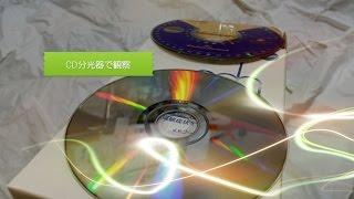 CD分光器で虹色スペクトルを観察