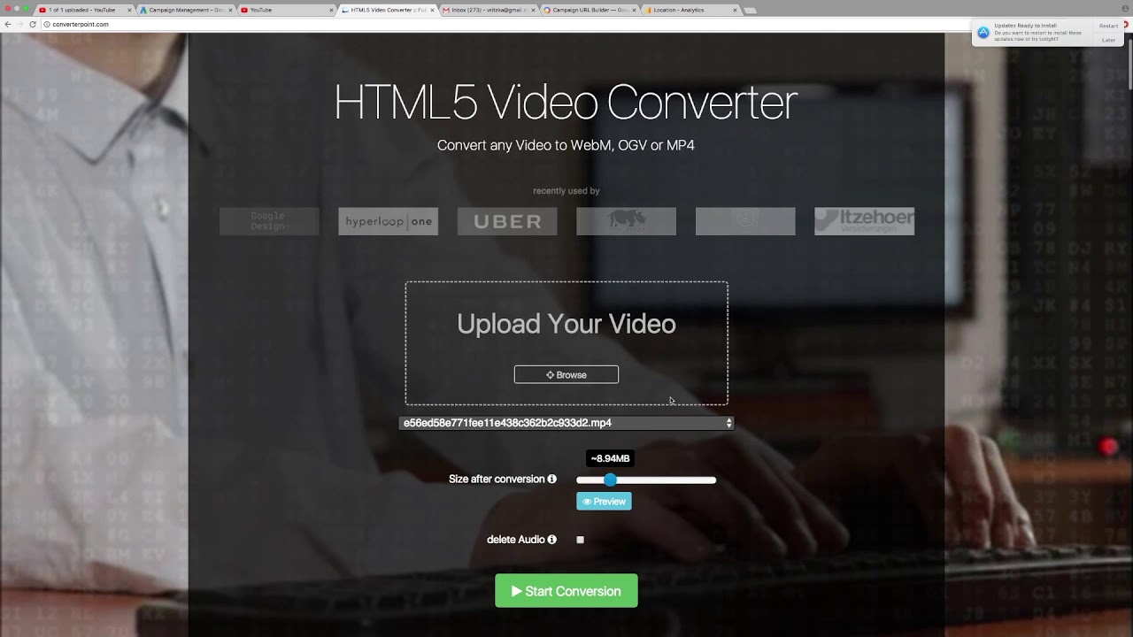 HTML5 Video Converter online :: Any video to MP4 Webm OGV