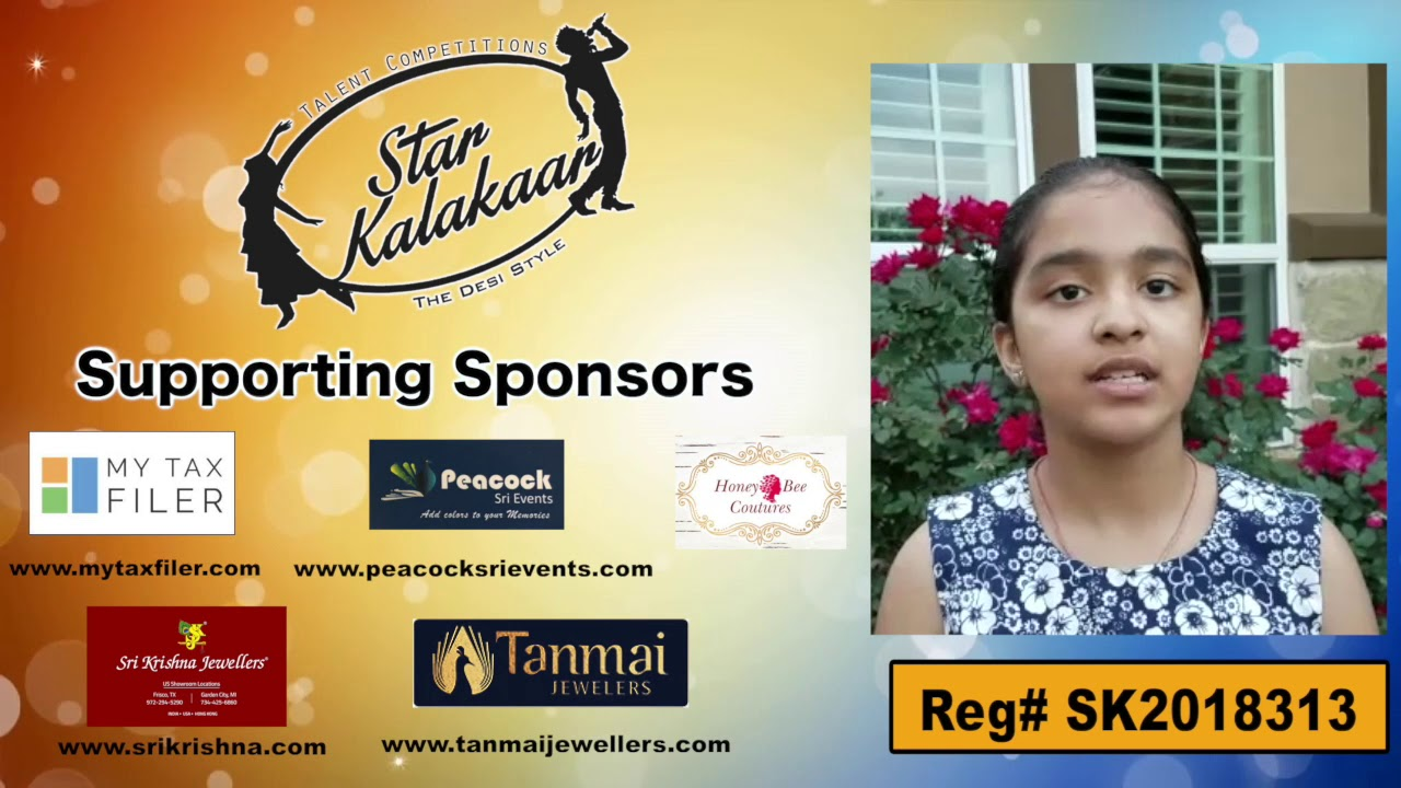 Participant Reg# SK2018-313 Introduction - US Star Kalakaar 2018 || DesiplazaTV