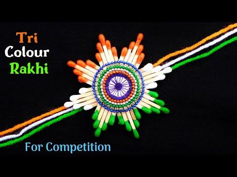 DIY Indian Tricolour Rakhi with waste Matchsticks | Rakhi making for competition 2019
