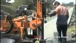 A1 Highways W-Beam Guardrail Installation Demonstration