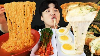 ENG SUB) ASMR MUKBANG KOREAN HOME FOOD Spicy Ramen, Cheese Pork cutlet, Egg, Kimchi EATING SOUND!