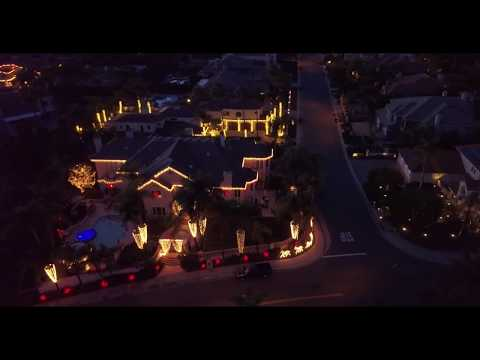 some christmas lights around nellie gail from the sky - 2017