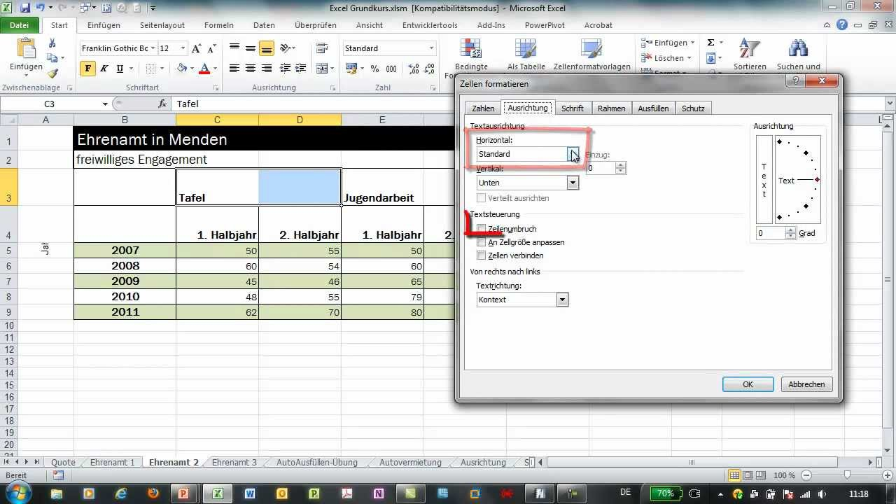 Excel Arbeitsblatt In Zelle : Excel zellen verbinden und über auswahl zentrieren