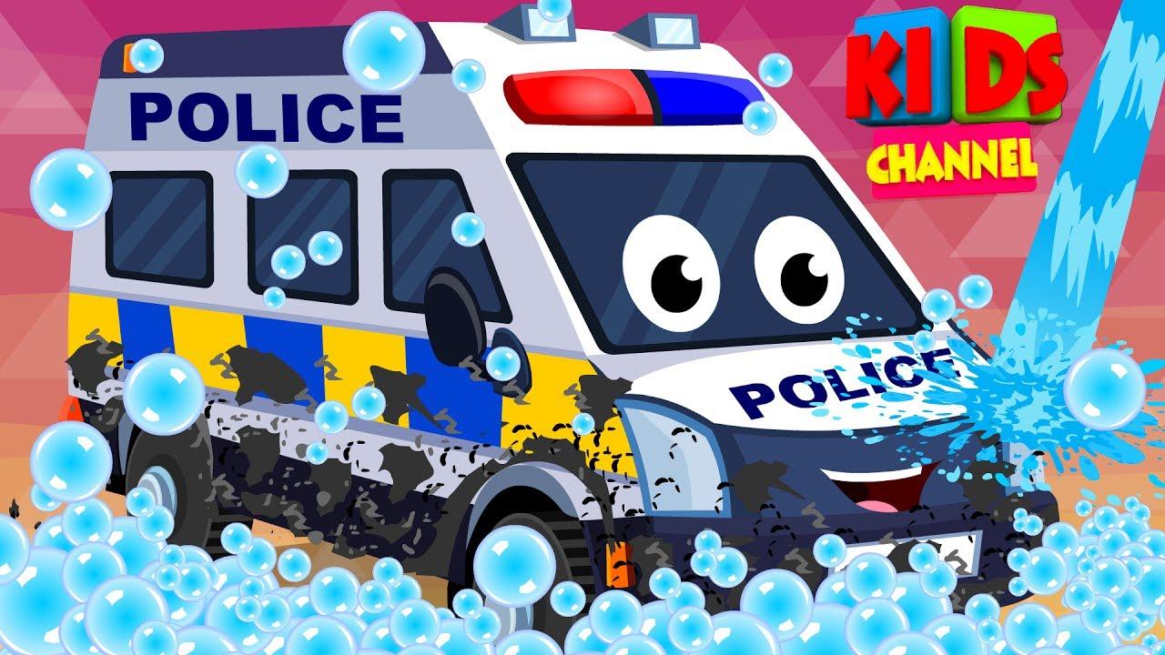 police van car wash childrens cartoon street vehicles video for kids