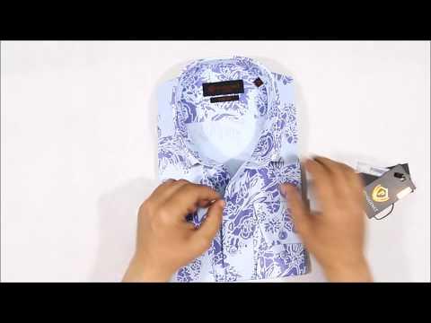 Голубая приталенная мужская рубашка Poggino 7000-68 в цветах