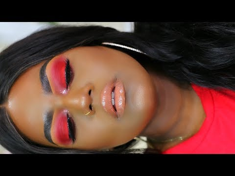 MOST PIGMENTED RED SMOKEY EYE MAKEUP TUTORIAL