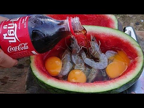Egg Shrimp Recipe: Young Girl Cook Shrimp with Coca Cola and Egg inside Watermelon