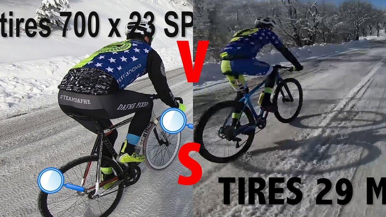 HillBombing on snowy roads -FixedGear 700 x23 spiked vs Mtb 29 ...
