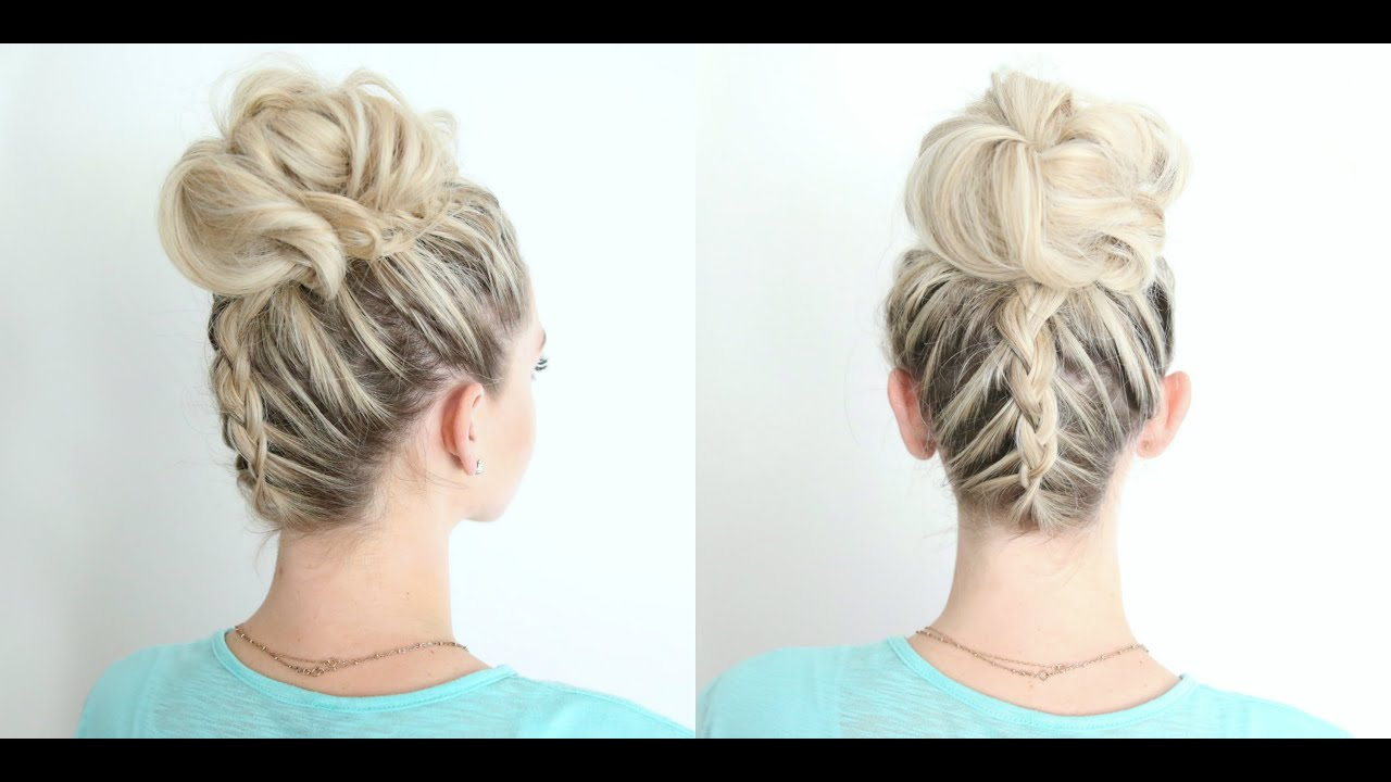 Dutch Braid Twist Bun Combo | Cute Girls Hairstyles - YouTube