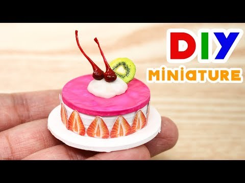 #DIY Miniature Cute Cake strawberry - Dollhouse DIY crafting Cute Cake strawberry
