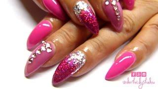 Pink Stiletto Nail tutorial   UnderTheLilyShadow