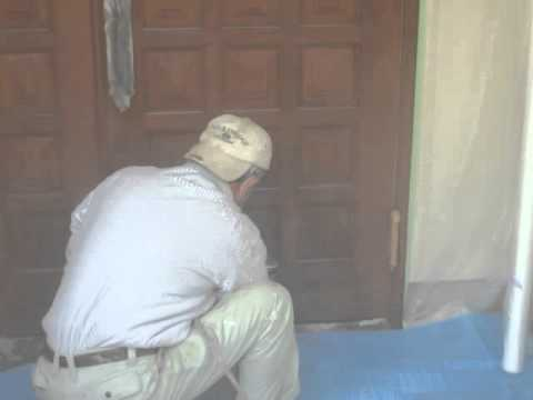 木製ドアのスプレー塗装着色+クリアー