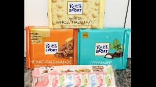 From Germany: Ritter Sport White Whole Hazelnuts, Honey Salt Almond, Peppermint & 3 More!