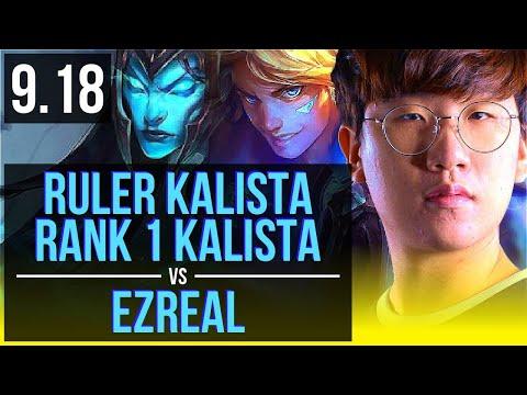 Ruler KALISTA & Rakan vs EZREAL & Morgana (ADC) | Rank 1 Kalista, Rank 7 | Korea Challenger | v9.18