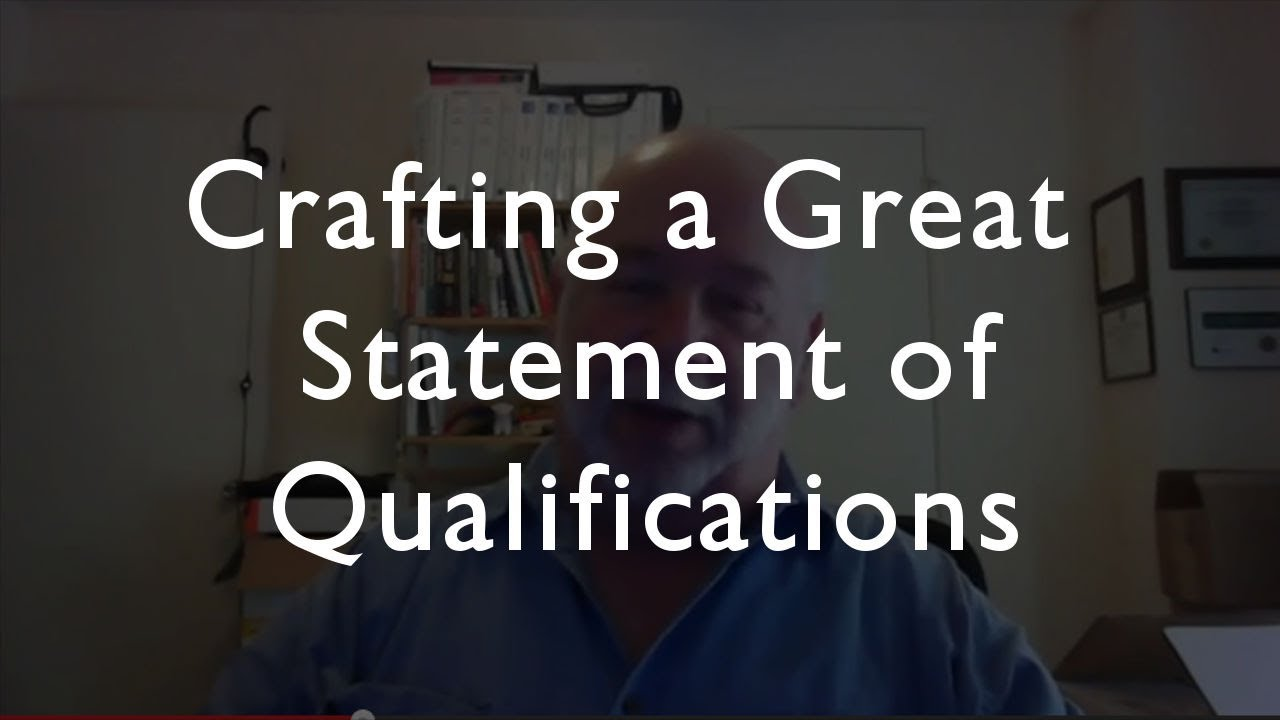How To Write A Great Statement Of Qualifications   YouTube