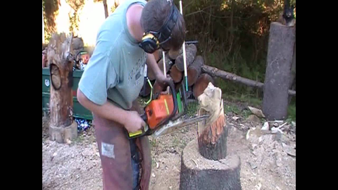 Quick carve chainsaw bear in stump youtube